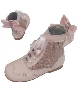 Bota Pascuala combinada con glitter rosa 4956