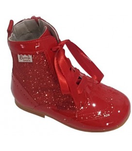 Bota Pascuala en glitter y charol rojo 4956