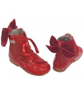 Bota Pascuala combinada con Glitter rojo 4956